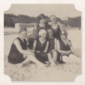 Beach Group 1920 Vintage Photograph Paper Coaster
