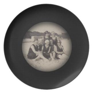 Beach Group 1920 Vintage Photograph Plate