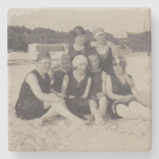 Beach Group 1920 Vintage Photograph Stone Coaster