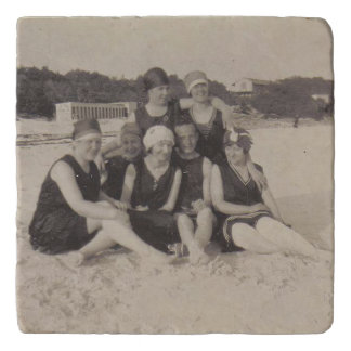 Beach Group 1920 Vintage Photograph Trivet