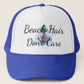 beach hair don't care, bachelorette party, anchor trucker hat