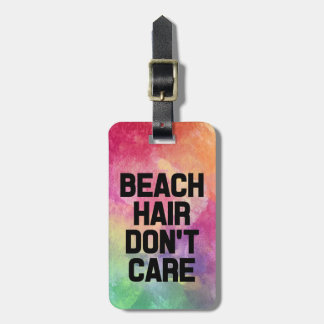 Beach Hair Don't Care Watercolor funny Luggage Tag