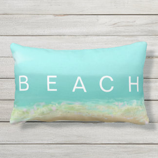 Beach HAPPY cool blue and yellow  summer stripes Lumbar Cushion