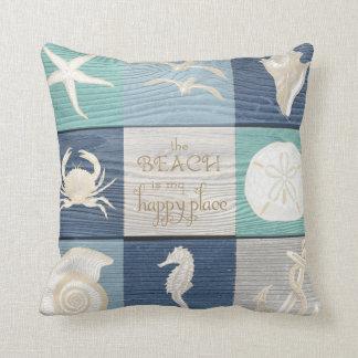 Beach Happy Place Blue Aqua Old Wood Sea Pillow Cushion