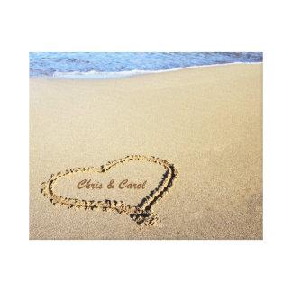 Beach Heart Canvas Print w/ Custom Names