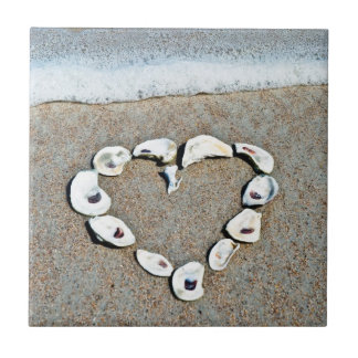 Beach Heart in Seashells Romantic Design Ceramic Tile
