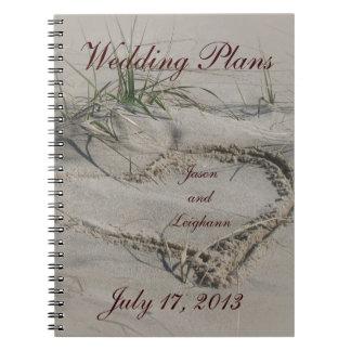 Beach & Heart Wedding Plans Notebook