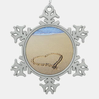 Beach Hearts In Sand Snowflake Pewter Christmas Ornament