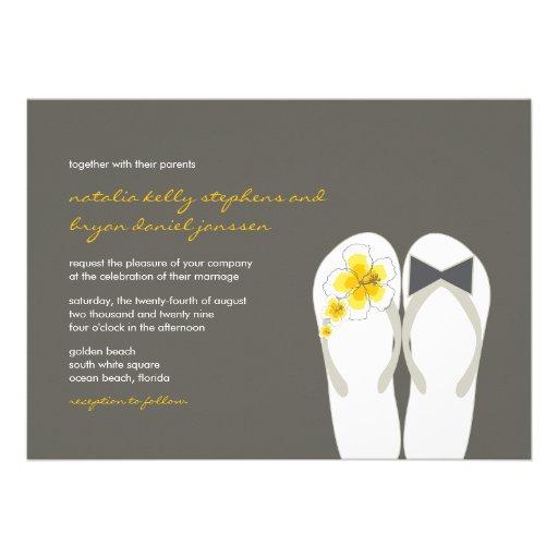 Beach Hibiscus Flip Flops Summer Wedding Invite Custom Invite