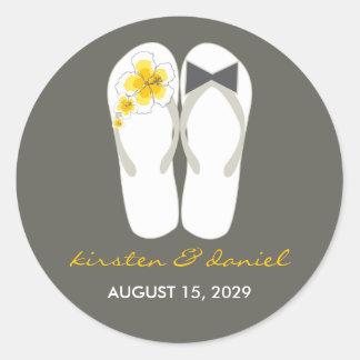 Beach Hibiscus Flip Flops Wedding Favour Gift Round Sticker