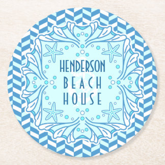 Beach House Art Deco Shell and Herringbone Custom Round Paper Coaster