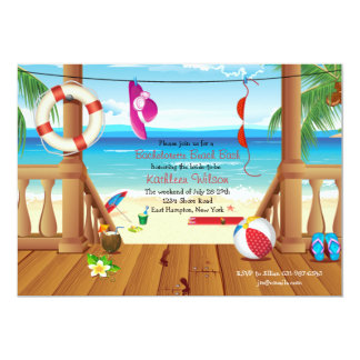 Beach House Bachelorette Party Invitation