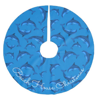 Beach House Christmas Dolphin Pattern Tree Skirt