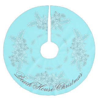 Beach House Christmas Hibiscus Swag Muted Brushed Polyester Tree Skirt