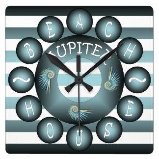 """""""Beach House"""" ~Jupiter FL ~Spiked Spiral Seashells Wall Clock"""