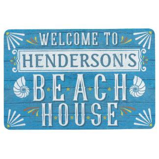 Beach House Nautical Coastal Shells Custom Name Floor Mat