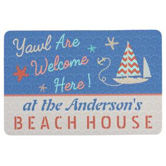 Beach House Nautical Cute Sailboat Pun   Name Floor Mat