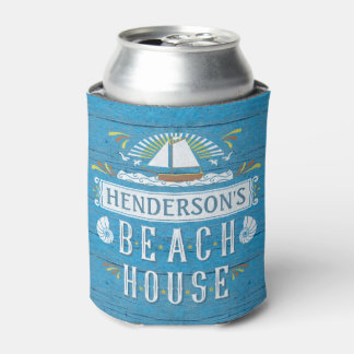 Beach House Nautical Sailboat Seashells Add Name Can Cooler