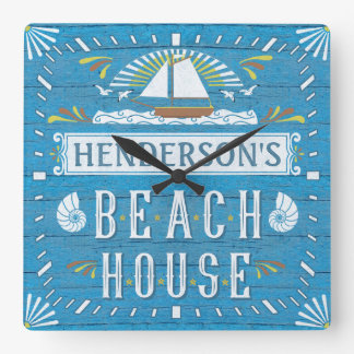 Beach House Nautical Sailboat Shells Custom Name 2 Square Wall Clock