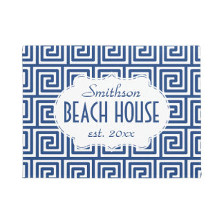 Beach House Navy Key Deco Nautical Personalized Doormat