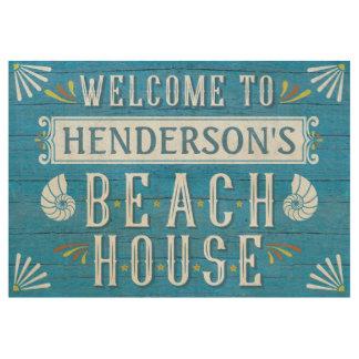 Beach House Personalized Coastal Nautical Blue Wood Poster