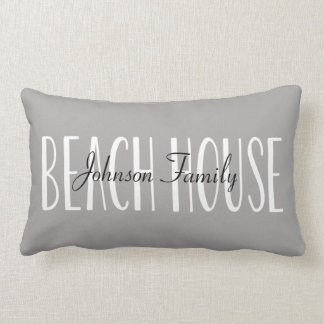 Beach House Pillow Personalised with Name