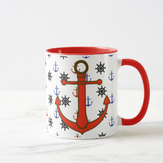 Beach House Red and Blue Anchors Coffee Cup