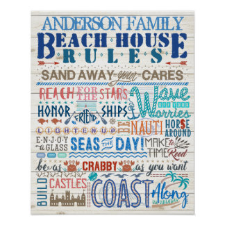Beach House Rules Family Cottage | Custom Coastal Poster