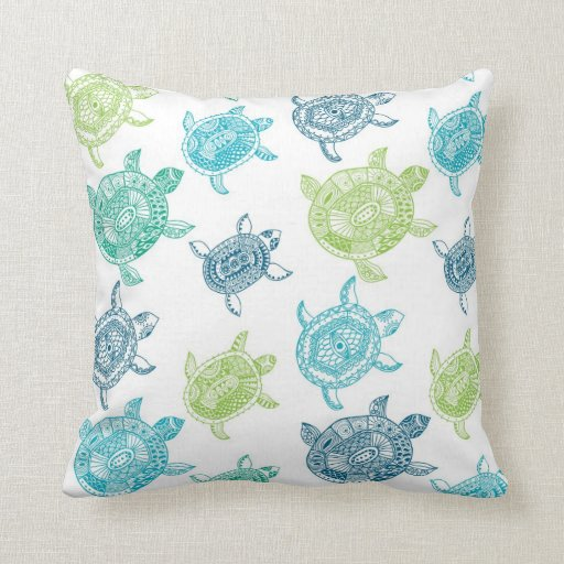 Inexpensive Beach Throw Pillows : Beach House Sea Turtle Decorative Throw Pillow Throw Cushion Zazzle