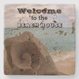 Beach House Welcome Seashell Nautical Ocean Stone Coaster