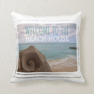 Beach House Welcome Seashell Nautical Theme Cushion