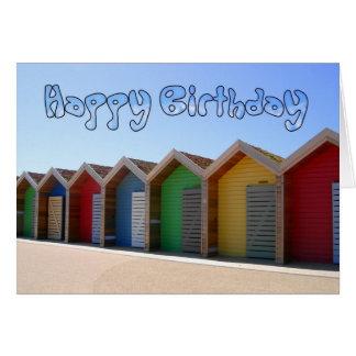 Beach Hut Birthday Card