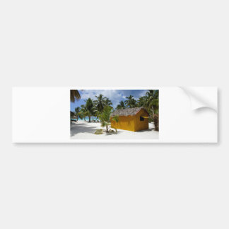 beach hut bumper sticker