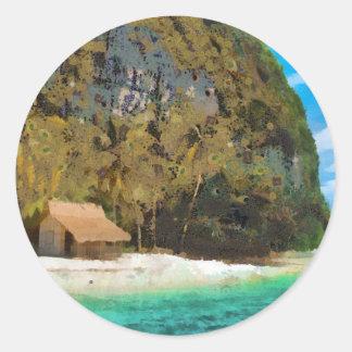 Beach Hut Classic Round Sticker