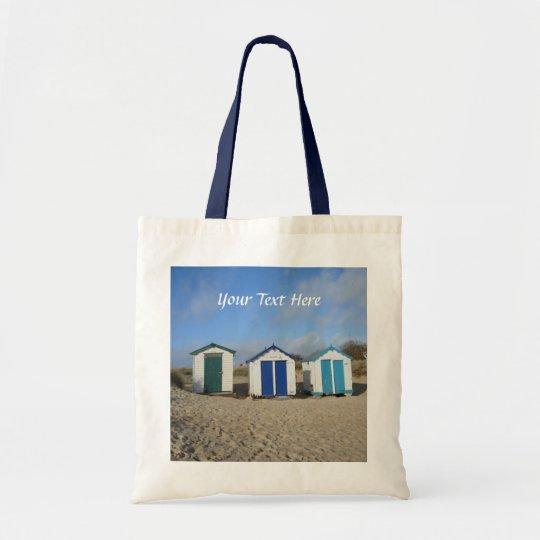 Beach huts blue skies sand english seaside photo
