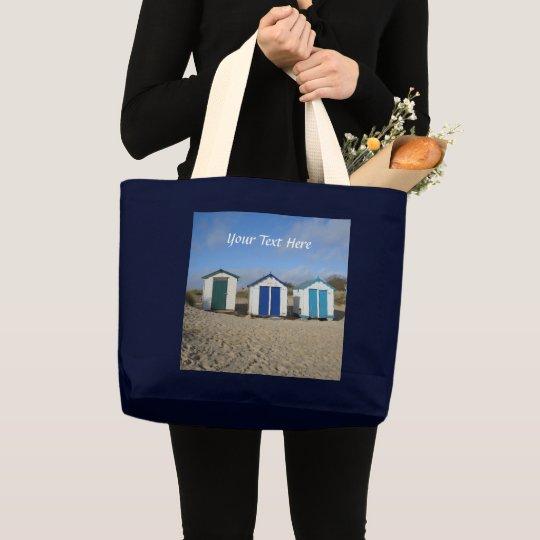 Beach huts blue skies sand english seaside photo large tote bag