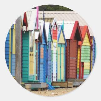 Beach Huts Melbourne Classic Round Sticker