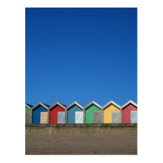 beach huts postcard