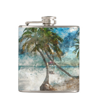 Beach in Ambergris Caye Belize Flask