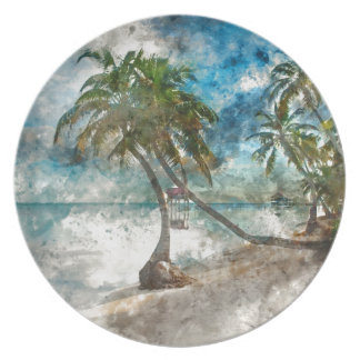Beach in Ambergris Caye Belize Plate