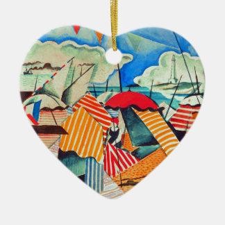 Beach in Biarritz (France) by Bedrich Feurstein Ceramic Heart Decoration