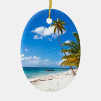 Beach in Saona Dominican Republic Ceramic Ornament