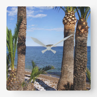 Beach in the Albir, Altea, Alicante, Spain Square Wall Clock