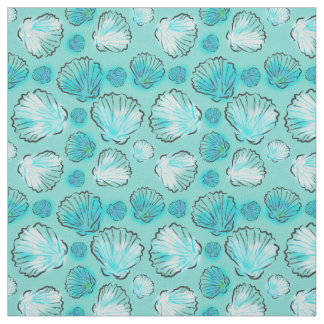 Beach Inspired Fabric|Stylish Teal Clam Shells Fabric