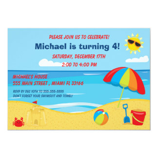 Beach Kids Birthday Invitation