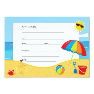 Beach Kids Birthday Invitation Fill In