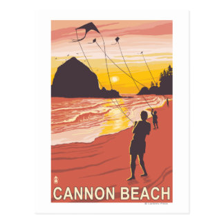 Beach & Kites - Cannon Beach, Oregon Postcard