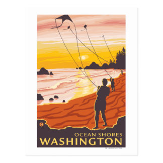 Beach & Kites - Ocean Shores, Washington Postcard
