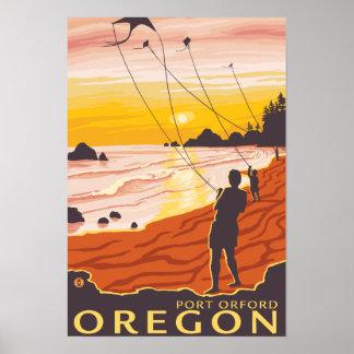 Beach & Kites - Port Orford, Oregon Posters