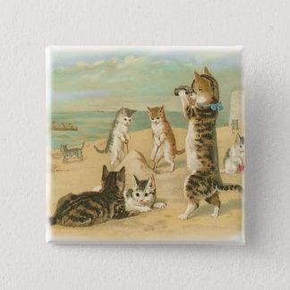Beach Kittens 15 Cm Square Badge